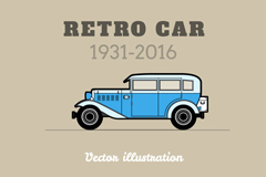 复古蓝色车辆海报矢量素材