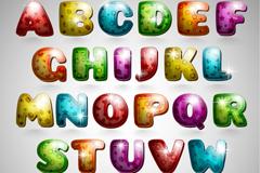 26个彩色卡通质感字母设计矢量图