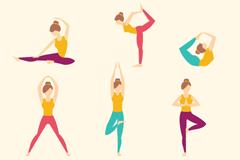 6款瑜伽女孩设计矢量素材