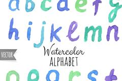 26个小写水彩字母矢量素材