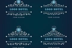 4款创意旅馆花纹标志矢量图