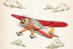 水彩绘云朵飞机矢量素材