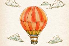 水彩绘条纹热气球矢量图