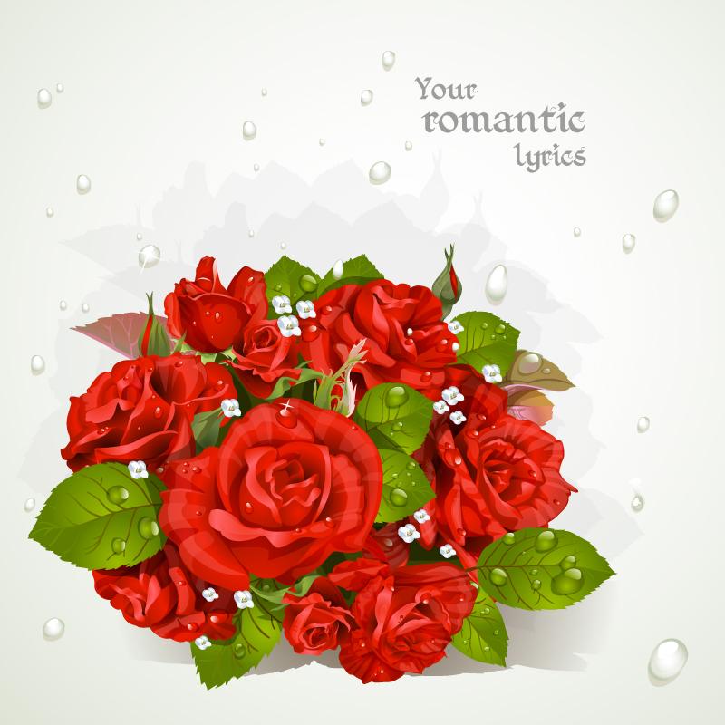 红色玫瑰花束贺卡