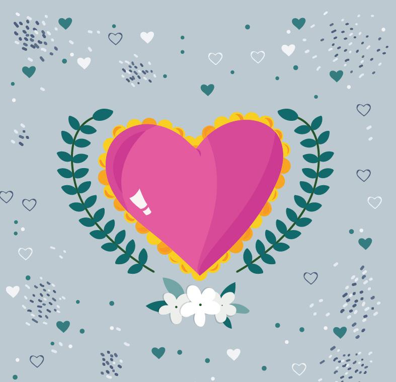 彩绘粉色爱心和树枝矢量素材