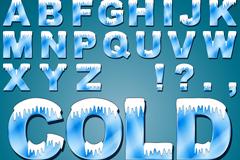 40个冰冻字母与数字矢量素材
