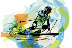 创意双板滑雪人物设计矢量素材