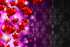 精美立体红色爱心背景矢量素材