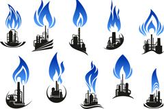 10款石油炼制工业标志矢量图