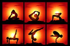 9个瑜伽人物剪影矢量素材