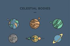 9款扁平化太阳系天体图标矢量素材