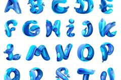 创意26个蓝色水字母矢量素材