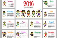 创意2016年猴年年历矢量图
