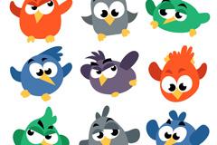 9款卡通大眼小鸟矢量素材