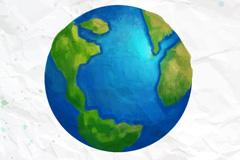 创意水彩蓝色地球矢量素材