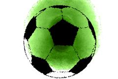 绿色水彩晕染足球矢量素材