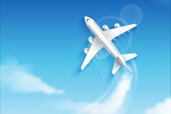蓝天中翱翔的飞机矢量图