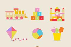 9款彩色儿童玩具图标矢量素材