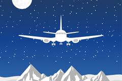 飞越雪山的飞机矢量素材