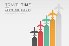 5种创意彩色飞机矢量素材