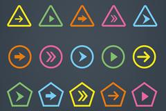 20款彩色箭头按钮矢量素材