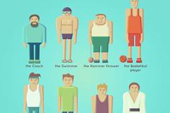 8个创意运动员设计矢量素材