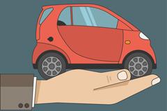 单手托举的汽车矢量素材