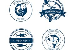 4款蓝色钓鱼营地标签矢量图