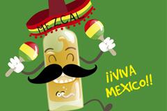 卡通墨西哥龙舌兰酒矢量素材