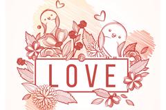 彩绘花卉和鸟矢量素材