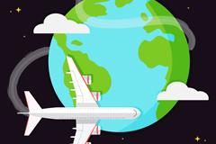 环球飞行飞机插画矢量素材