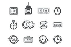 16款黑色时钟图标矢量素材