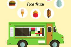 绿色食品外卖车矢量素材