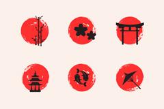 9款圆形日本元素图标矢量素材