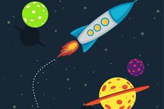 创意太空火箭和星球插画矢量素材