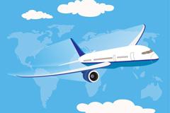 天空中的航空飞机矢量素材