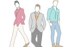 3款男子时装模特矢量素材
