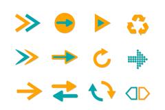 16款双色箭头图标矢量素材