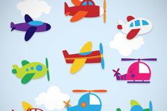 9款卡通飞机贴纸矢量素材