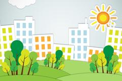 创意房屋绿树剪贴画矢量素材