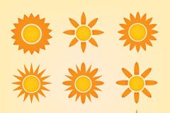 9款橙色太阳图标矢量素材