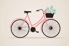 装满鲜花的粉色单车矢量素材