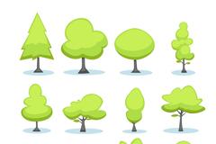 12款卡通绿色树木矢量素材