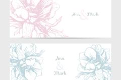 2款素雅花卉婚礼卡片矢量图