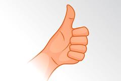 卡通竖起的大拇指矢量素材