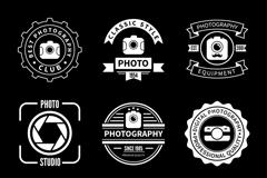 9款白色摄影俱乐部标志矢量图