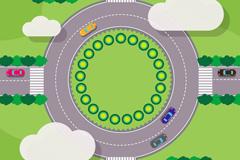 创意转盘环岛路俯视图矢量素材
