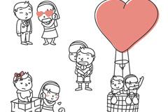 4款可爱情侣设计矢量素材