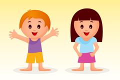 卡通微笑男孩和女孩矢量素材