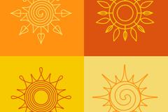 4款创意花纹太阳矢量素材